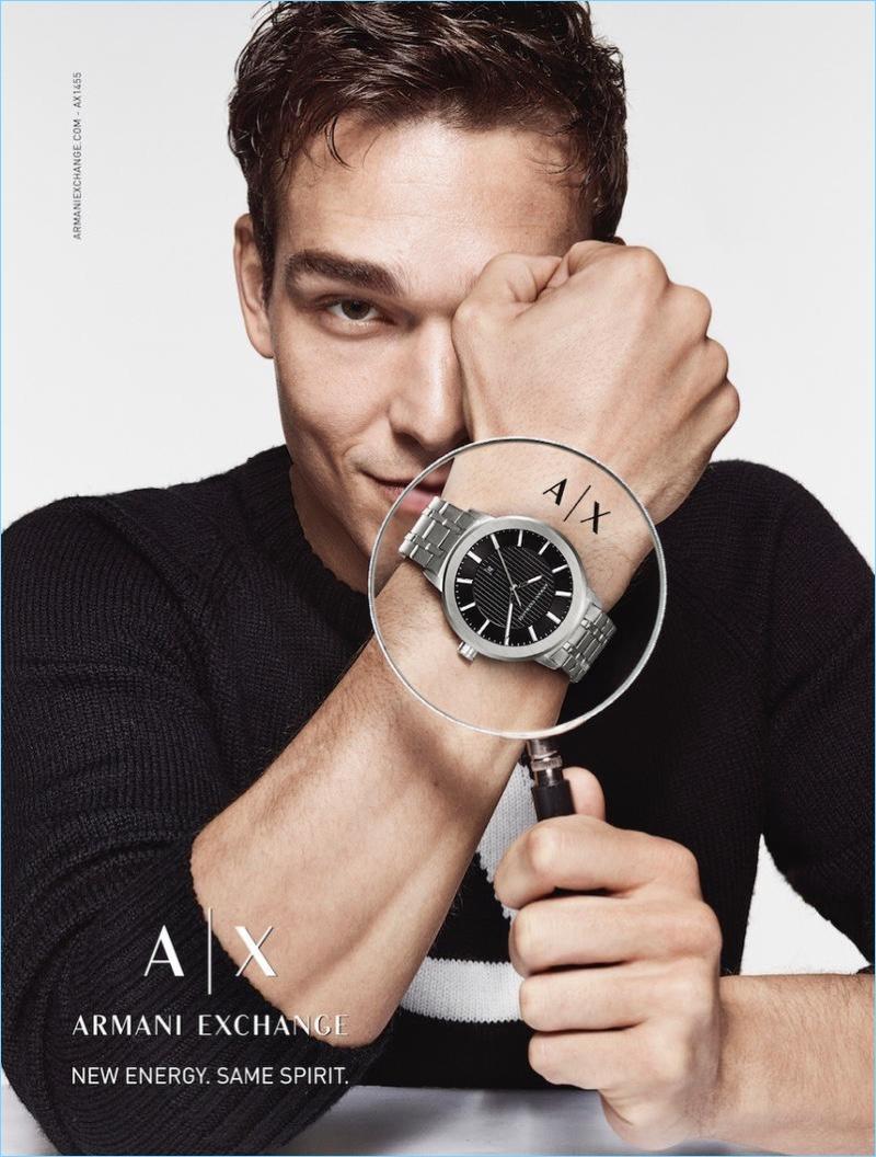 Brazilian model Alexandre Cunha stars in Armani Exchange's fall-winter 2017 watch campaign.