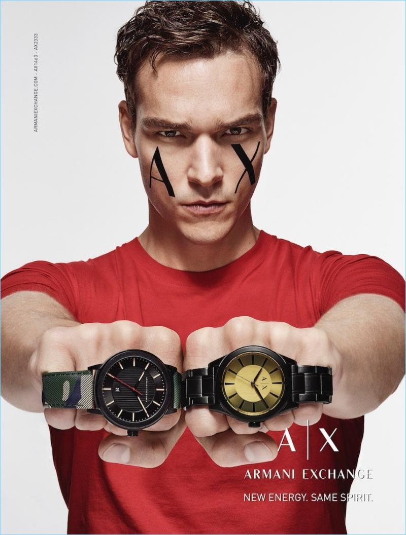 Armani Exchange taps Alexandre Cunha as the star of its fall-winter 2017 watch campaign.
