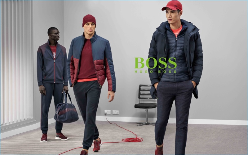 Models Fernando Cabral, Edward Wilding, and Hao Yun Xiang appear in BOSS Green's fall-winter 2017 campaign.