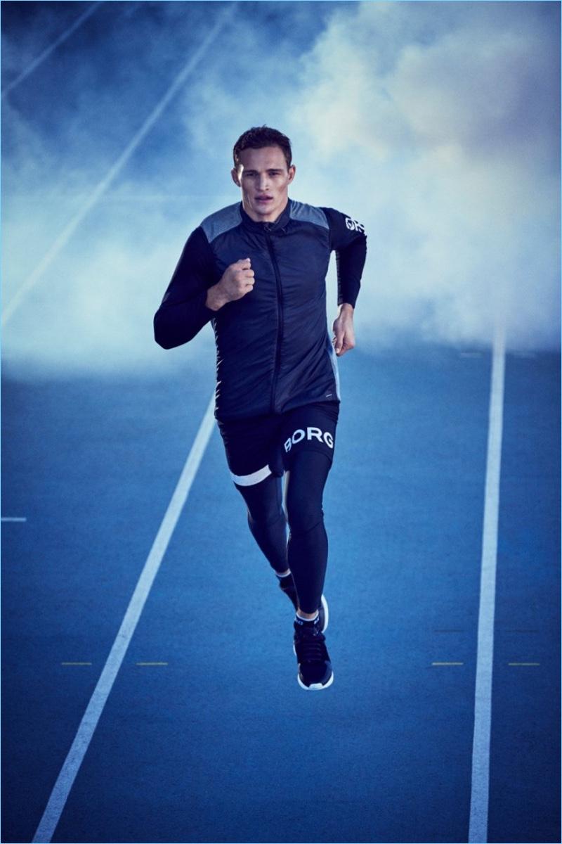 Running, Julian Schneyder stars in Björn Borg's fall-winter 2017 campaign.