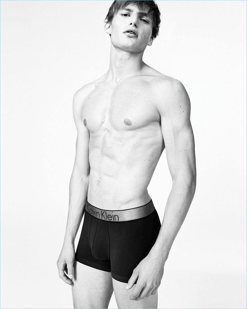Roan van Oort wears Calvin Klein's cotton low-rise trunk for the brand's fall-winter 2017 underwear campaign.