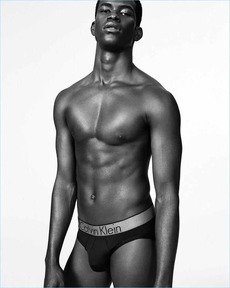 Model Salomon Diaz rocks Calvin Klein's Customized Stretch underwear for the label's fall-winter 2017 campaign.
