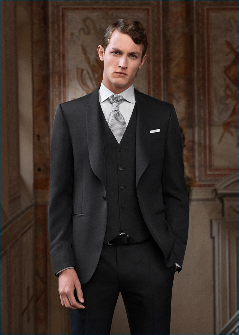 Rutger Schoone dons a three-piece suit from Canali's wedding and formalwear range.
