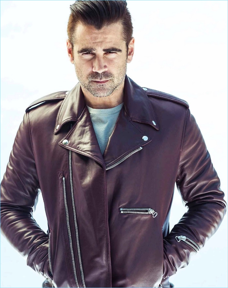 Sporting a leather biker jacket, Colin Farrell appears in a photo shoot.