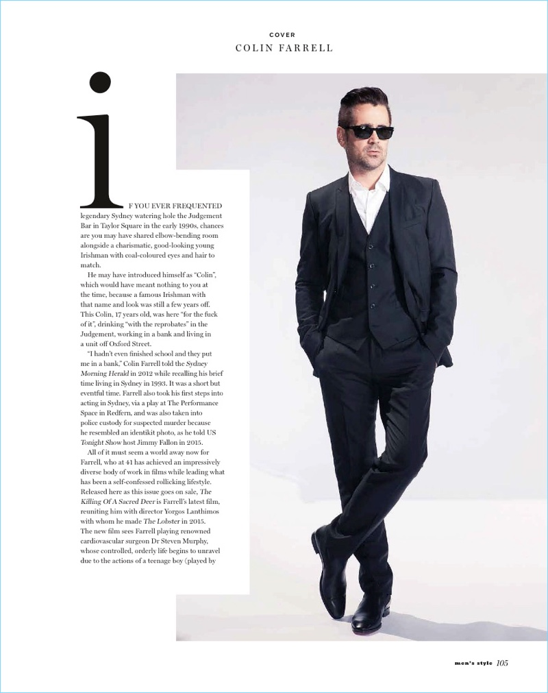 Playing it cool, Colin Farrell suits up and wears sunglasses.