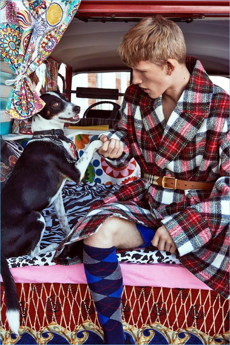 Connor Newall Rocks Plaid Fashions for GQ Portugal