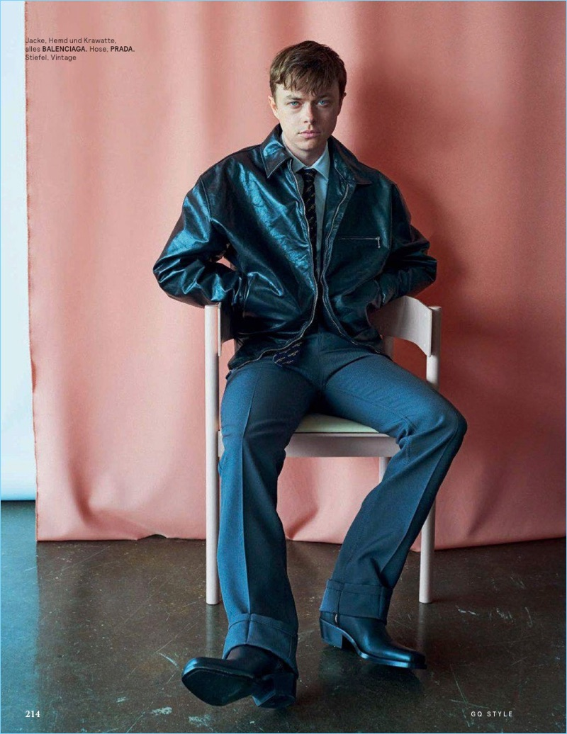 Actor Dane DeHaan dons Balenciaga and Prada for GQ Style Germany.