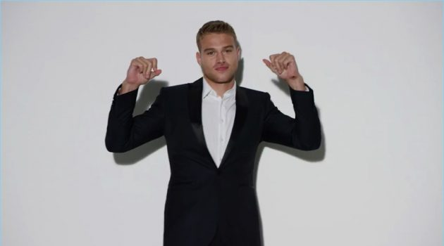 Matthew Noszka reunites with Express for the holiday season.
