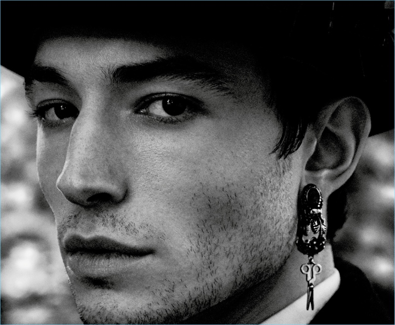 Justice League star Ezra Miller appears in a new photo shoot for Interview magazine.