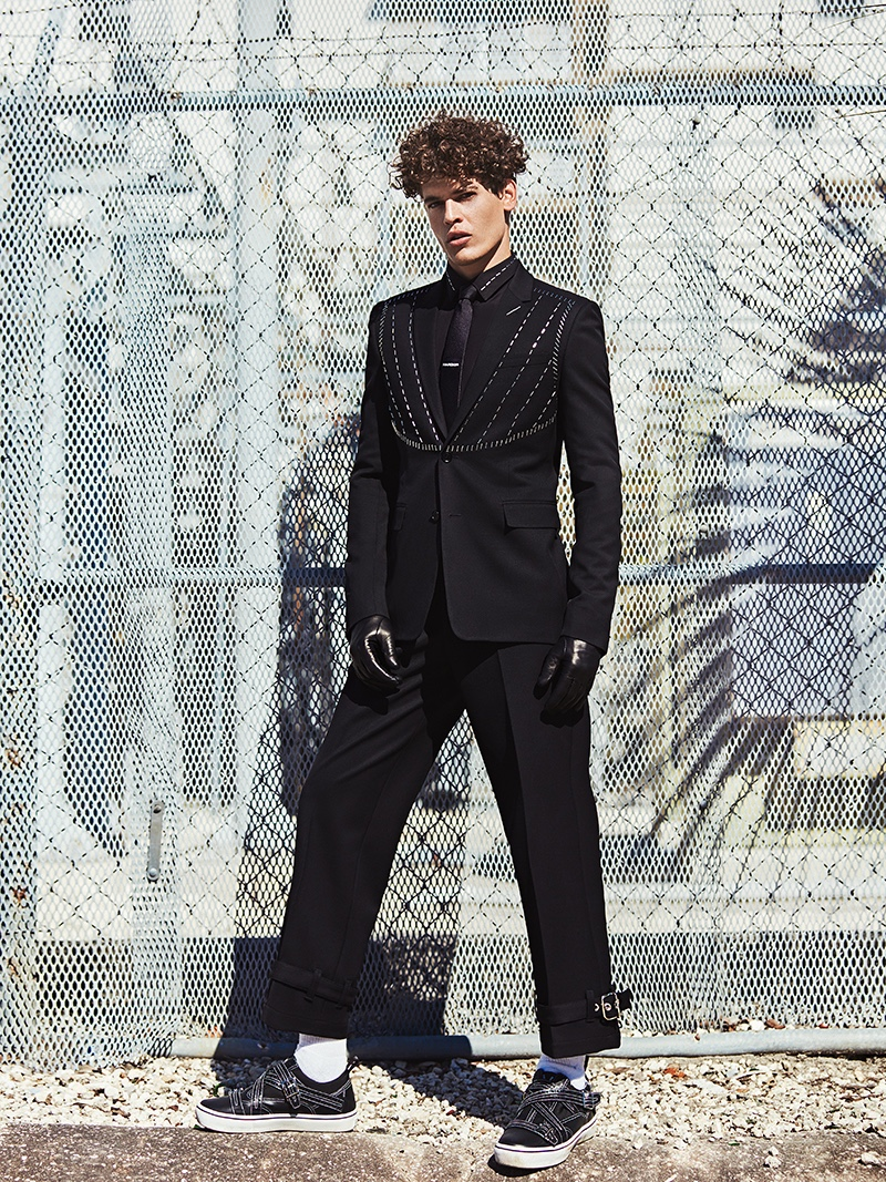 Sidney wears all clothes and shoes Dior Homme.