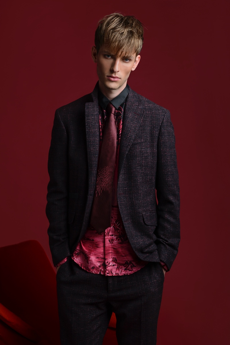 Thomas Barry wears silk shirt Christian Pellizzari, tie and suit Canali.