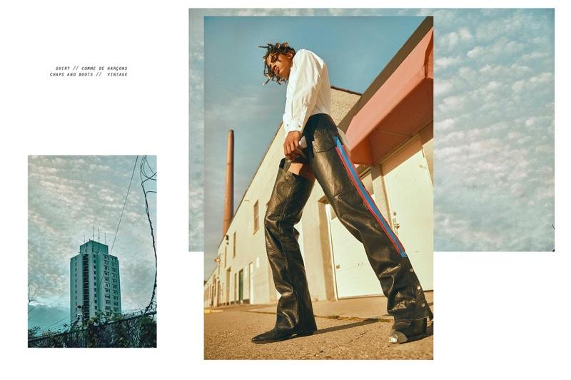 Austin wears shirt Comme des Garçons, vintage chaps and boots.