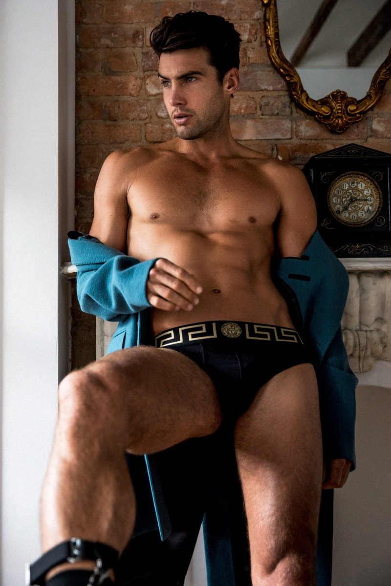 Mitchell wears coat Lanvin and underwear Versace.