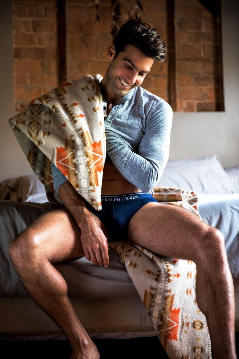Mitchell wears henley Rag & Bone and underwear Ralph Lauren.