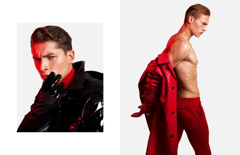 Models Ruben Vanghillewe and Paul François wears fall-winter 2017 fashions by Versace.