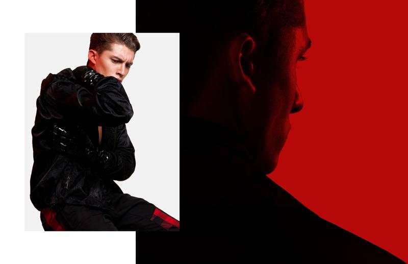 Model Ruben Vanghillewe sports fall-winter 2017 fashions from Versace.