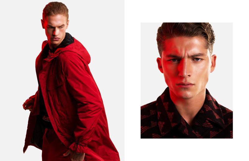 Versace steals the spotlight as models Paul François and Ruben Vanghillewe wear looks from the label.