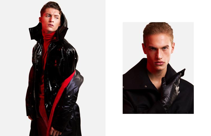 Ruben Vanghillewe and Paul François wear fall-winter 2017 outerwear by Versace.