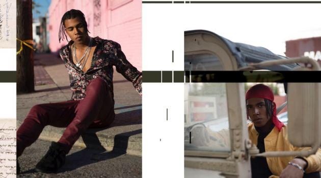 Left: Sadjo wears shirt Zara and pants COS. Right: Sadjo wears jacket stylist's own, sweater COS, and pants Zara.