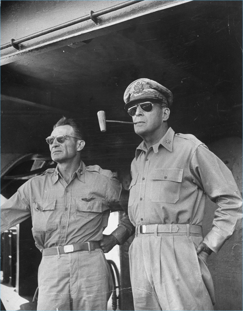 General MacArthur wears Ray-Ban aviator sunglasses.