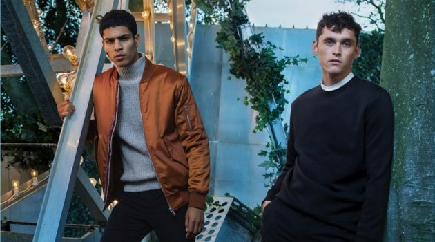 Models Geron McKinley and Anders Hayward wear looks from H&M's holiday 2017 collection.