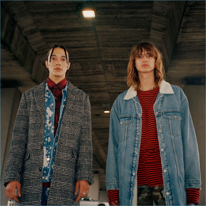 H&M embraces stripes, plaid, denim, and houndstooth for a new grunge style edit.