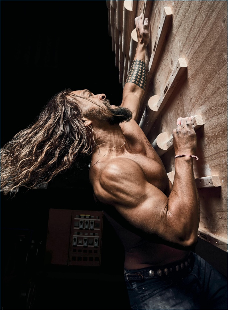 Working out with Men's Health, Jason Momoa appears in a new photo shoot.