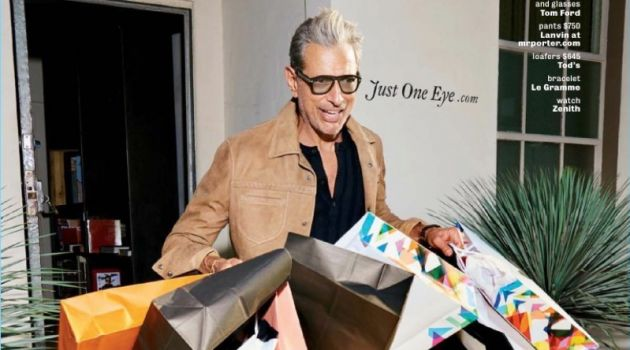 Shopping, Jeff Goldblum wears a Bottega Veneta jacket with a Tom Ford henley. Goldblum also dons Lanvin pants and Tod's loafers.