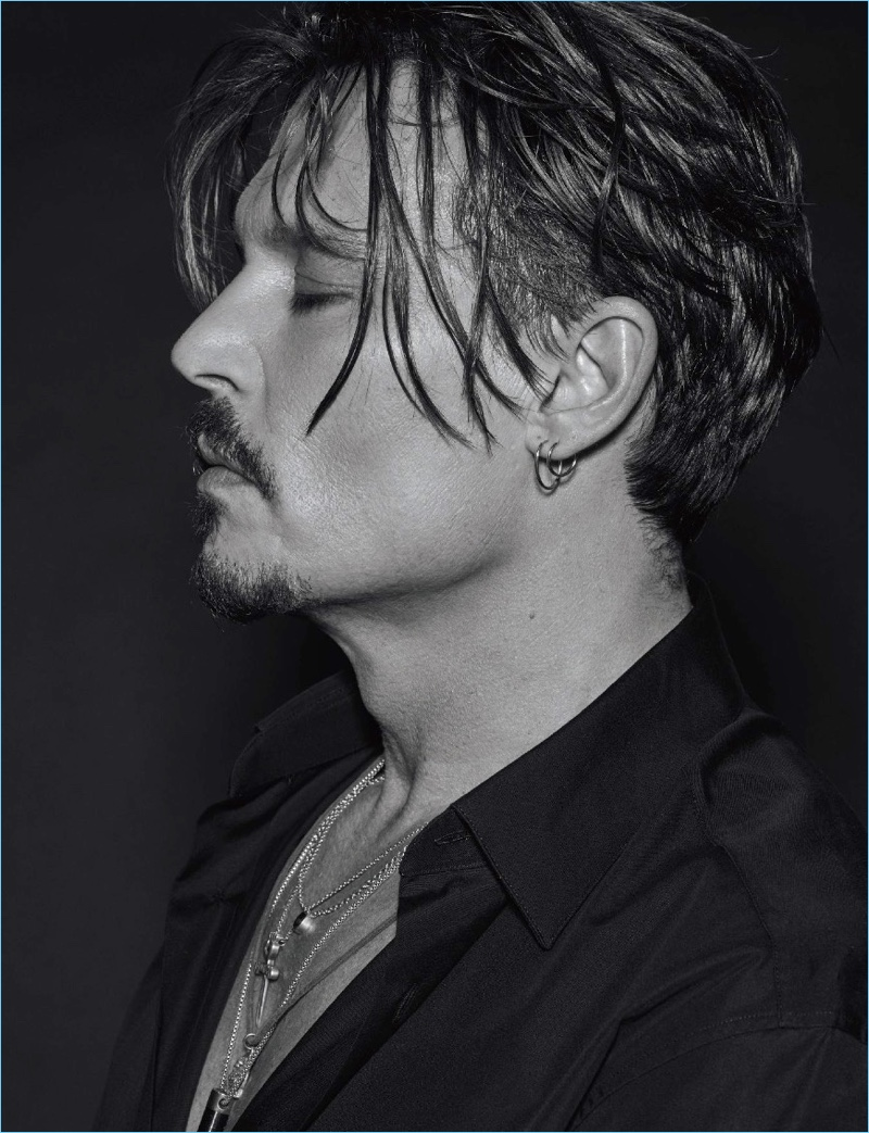 Actor Johnny Depp delivers a side profile for the pages of Numéro Homme.