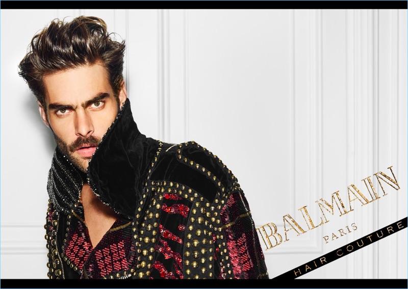 Jon Kortajarena stars in a campaign for Balmain Hair Couture.