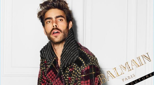 An Le photographs Jon Kortajarena for the campaign of Balmain Hair Couture.