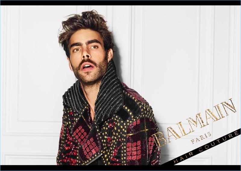An Le photographs Jon Kortajarena for the campaign of Balmain Hair Couture.