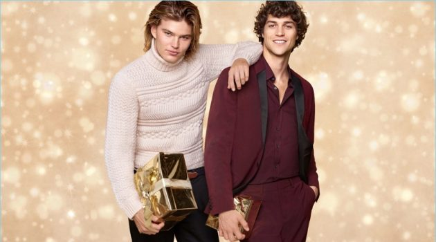 Top models Jordan Barrett and Miles McMillan celebrate the holidays with Zalando.