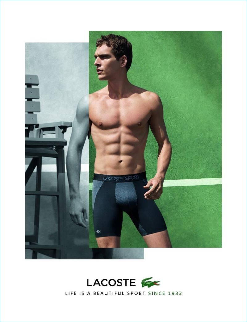 Alexandre Cunha fronts Lacoste's fall 2017 underwear campaign.
