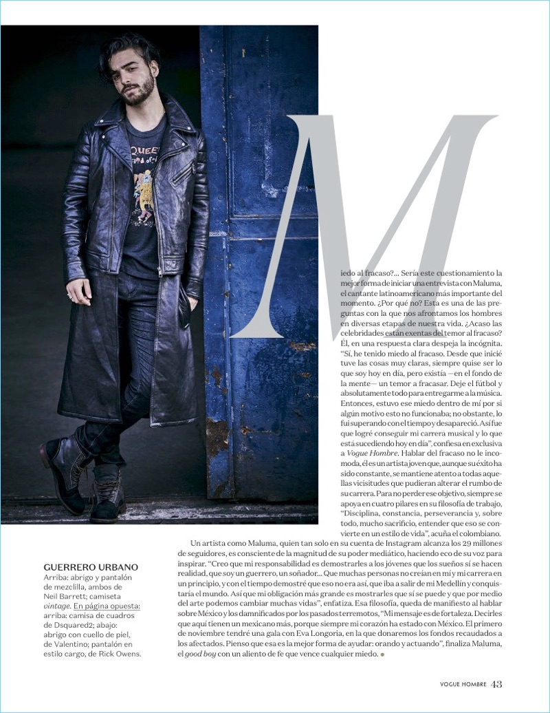 Connecting with Vogue Hombre, Maluma sports a look by Neil Barrett.