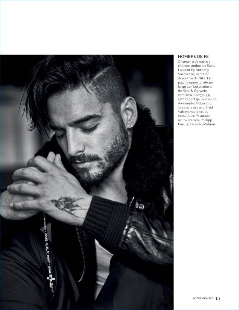 Rocking a Saint Laurent jackets, Maluma stars in a new photo shoot.
