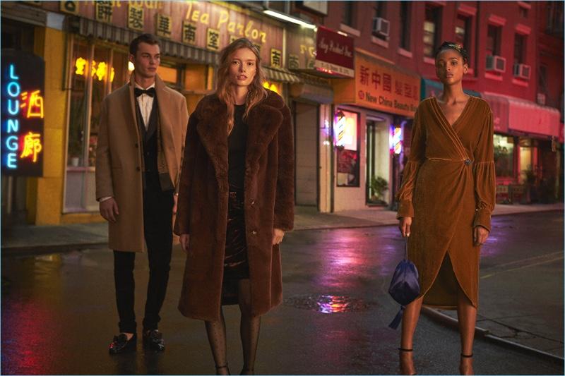 Models Kit Butler, Julia Hafstrom, and Aya Jones front Mango's holiday 2017 campaign.