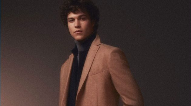 Miles McMillan dons camel and black tones for Massimo Dutti.