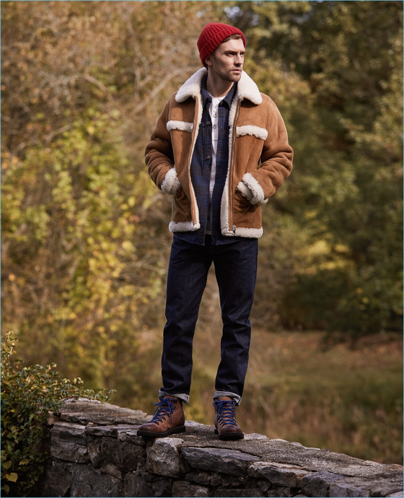 Get into the shearling trend with A.P.C.'s leather jacket. Pair it with a Remi Relief check shirt and Rag & Bone Standard Issue. Here, Freemans Sporting Club jeans, Sorel boots, and a Marni beanie complete the look.