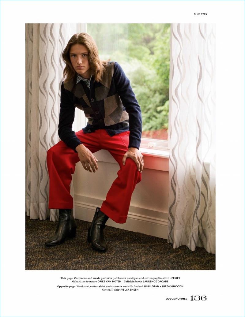 Blue Eyes: Oliver Sonne Stars in Vogue Hommes Cover Story