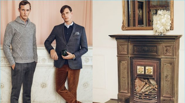 Models Rutger Schoone and Florian Van Bael showcase smart looks from Pedro del Hierro.