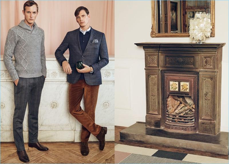 Models Rutger Schoone and Florian Van Bael showcase smart looks from Pedro del Hierro.