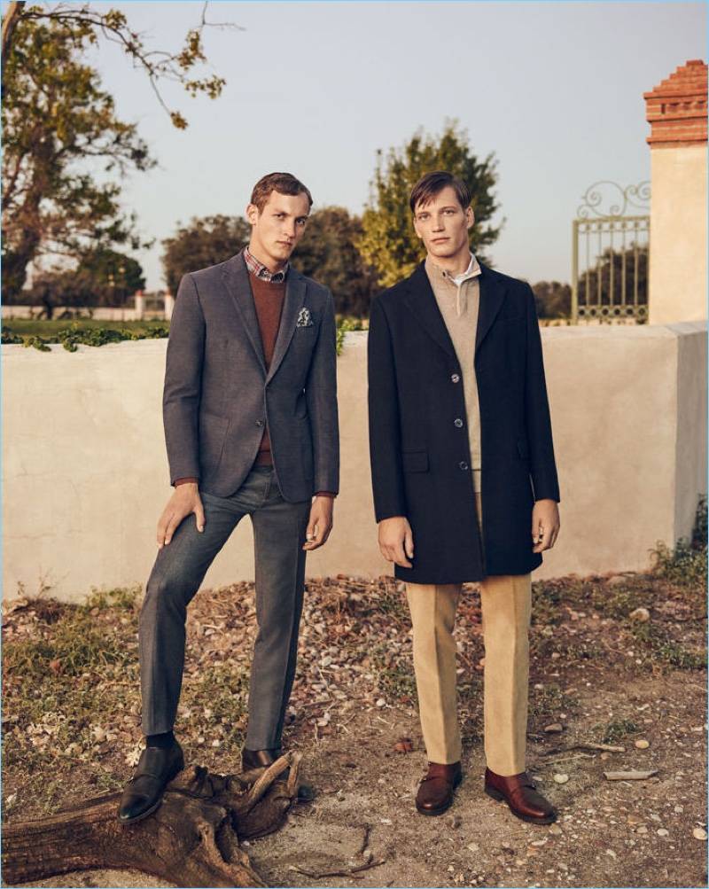 Rutger Schoone and Florian Van Bael model looks from Pedro del Hierro's Christmas collection.