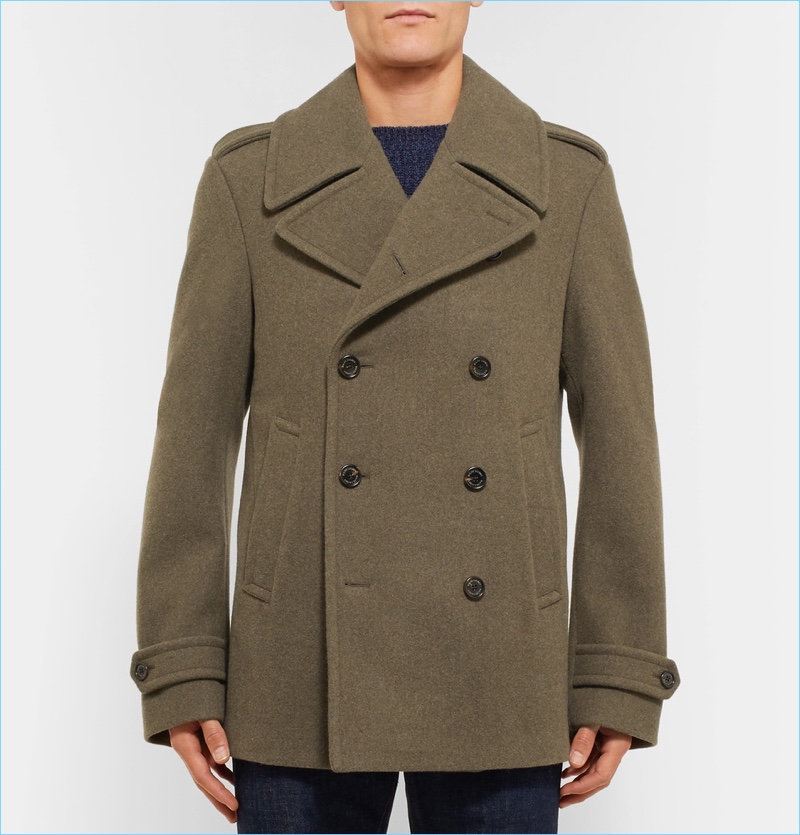 Ralph Lauren Purple Label Warrington Felted Wool Peacoat