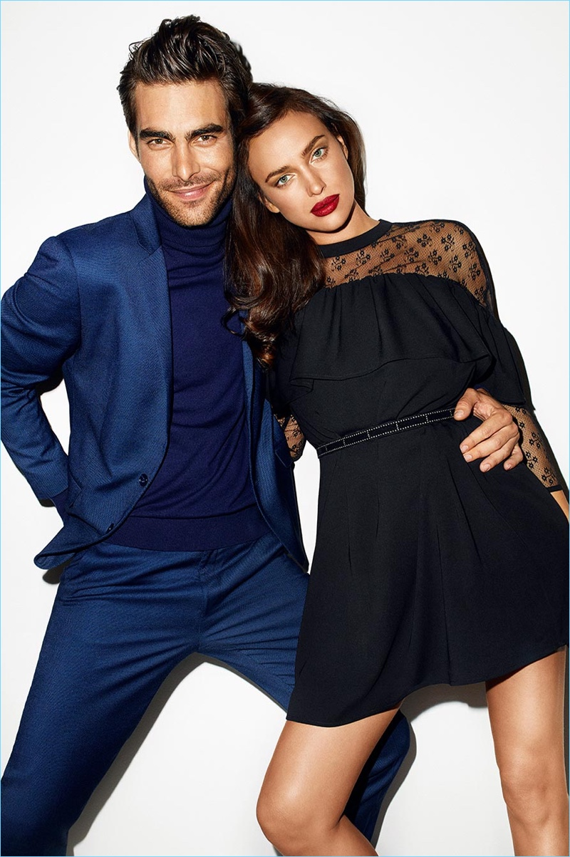 Top models Jon Kortajarena and Irina Shayk appear in Reserved's holiday 2017 campaign.