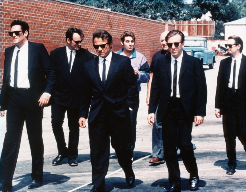 The cast of Reservoir Dogs maintain their cool look with Ray-Ban Clubmaster sunglasses.