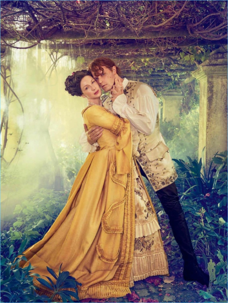 Caitriona Balfe and Sam Heughan embrace for an Entertainment Weekly photo shoot.