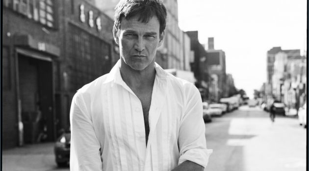 Connecting with The Laterals, Stephen Moyer wears Bottega Veneta.
