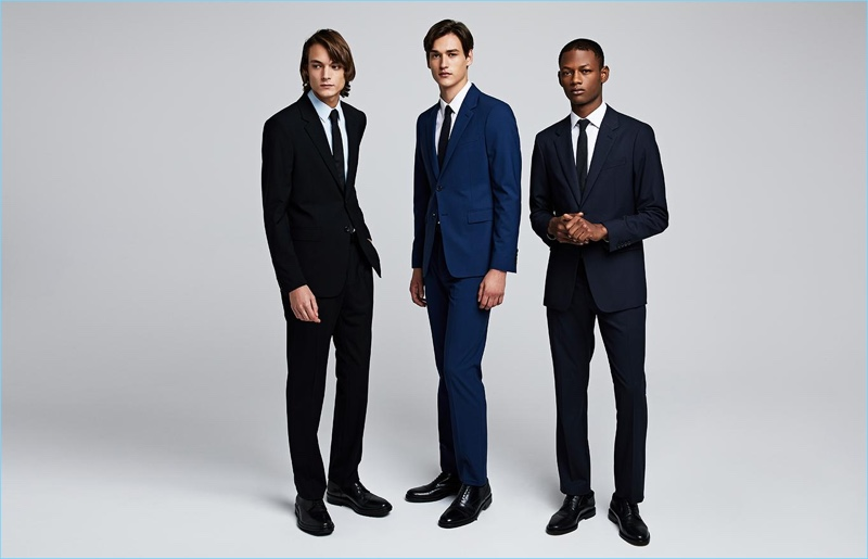 Timur Muharemovic, Jegor Venned, and Lucas Cristino don suits by Theory.