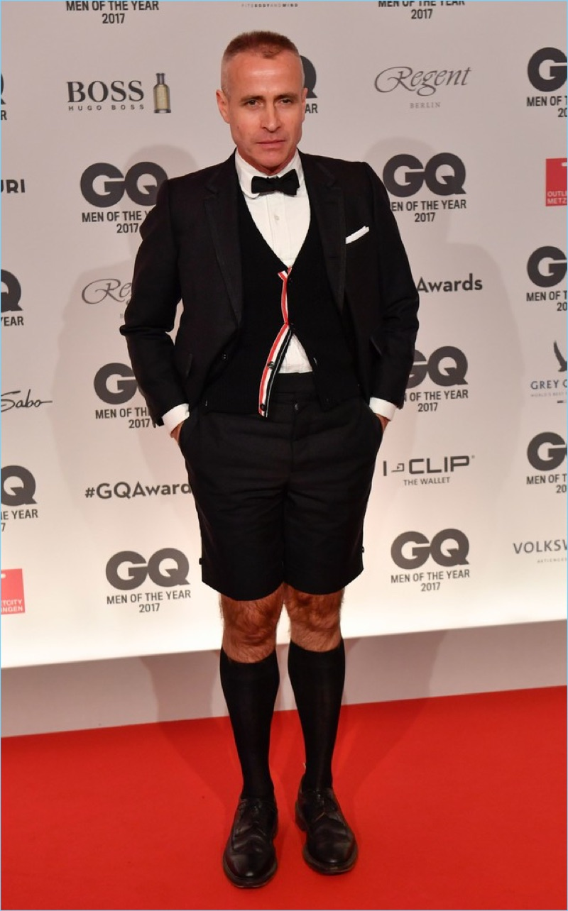 Thom Browne takes to the red carpet for GQ Germany' Men of the Year awards ceremony.